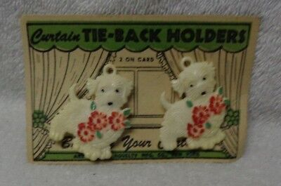 Scotty Scottie Dog White With Red Bouquet Plastic Curtain Tie-Back Holders
