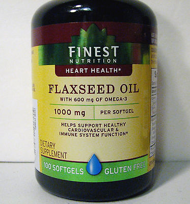 Flaxseed Oil 1000 mg 600 mg of Omega-3 100 Count Bottle