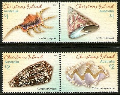 Christmas Island 2016 Shells set of 4 Mint Unhinged