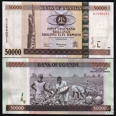 UGANDA 50000 SHILLINGS P47a 2003 HORSE COTTON HARVEST UNC AFRICAN CURRENCY NOTE