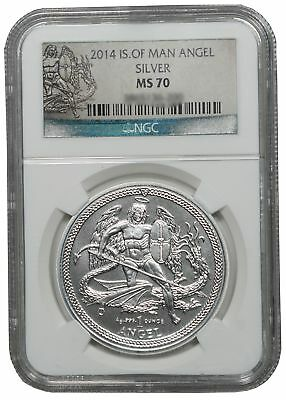 2014 Isle of Man Silver Angel Coin NGC MS70