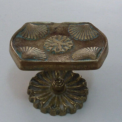 "VTG ""Brass"" Soap Dish Jewelry Holder Hollywood Regency Art Deco Seashell Footed"