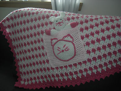 Crocheted Baby Blanket / Afghan and Kitty Toy