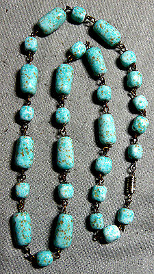 Vintage Stunning Turquoise Color Art Czech Glass Necklace