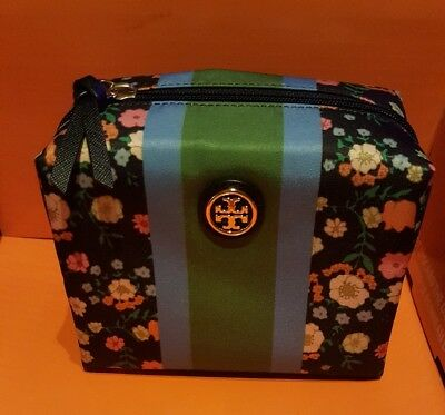 TORY BURCH Printed Nylon Brigitte Cosmetic Case Vilette  Stripe (New with Tags)