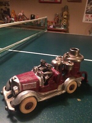 ANTIQUE large 8+ inch Hubly cast iron fire pumper truck nickel plated parts 30s