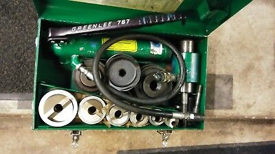 "Greenlee 7506 1/2"" - 2"" Hydraulic Knockout Set 767 Hand pump punch slug splitter"