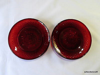 "Cristal D'Arques ""Antique"" Pattern Ruby Luncheon / Salad Plates (pair)"