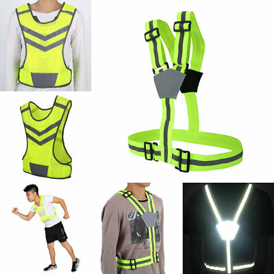 High Visible Reflective Strap Vest For Safety Running Walking Jogging Cycling BT