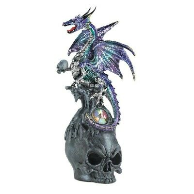 Mystical Jeweled Dragon And Skull Figurine Purple and Aqua Color Collectible New