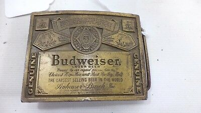 Vintage Budweiser Brass Belt Buckle Indiana Metal Craft Souvenir Advertisement