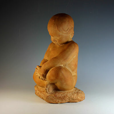 Vintage Chalk Ware Sculpture of a Young Child Signed Chalkware
