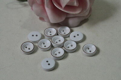 20pcs 10mm Round Wooden Button Natural Handmade Wood Sewing Craft White 2 Holes