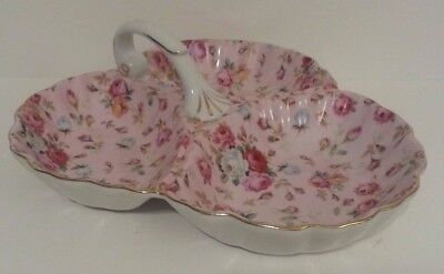 Royal Danube Floral Divided Candy Dish with Handle