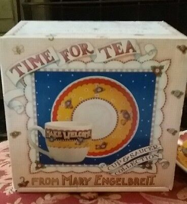 Mary Engelbreit Time for Tea 'Make Welcome' Cup & Saucer Set - NEW IN BOX NIB