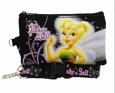 Disney Tinkerbell Fairies Lanyard with Fast Pass Coin Pouch ID Holder - Black