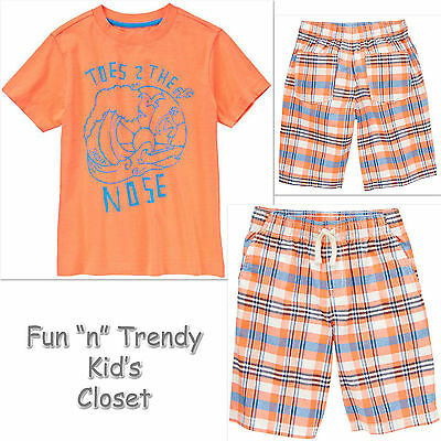NWT Crazy 8 Boys Size 12 14 Stay Chill Graphic Tee Shirt /& Twill Shorts 2-PC SET