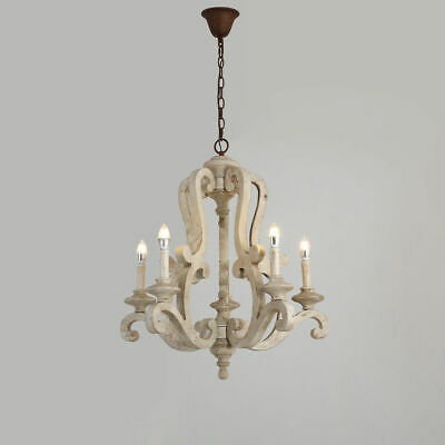 Retro Distressed Wood Scrolled Arms Rust Canopy 5-Light Candelabra Chandelier