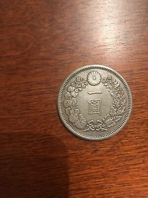 Japan Meiji Era one yen coin. Over 100 years over 140 years old. Free shipping