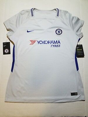 38c2d9e25fb NWT Nike Chelsea FC 2017 18 Womens Soccer Away Jersey White   Royal Blue  Size