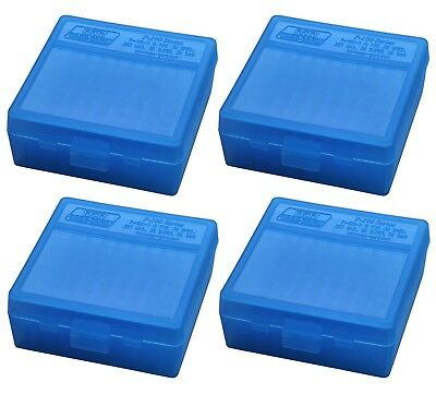 NEW MTM 100 Round Flip-Top 38/357 Cal Ammo Box - Clear Blue (4 Pack)