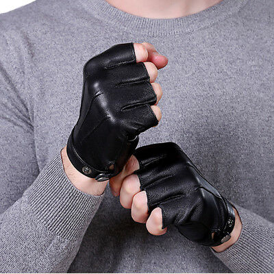Mens  Half Finger Leather Gloves Sports Cycling Outdoor Motorcycle Driving