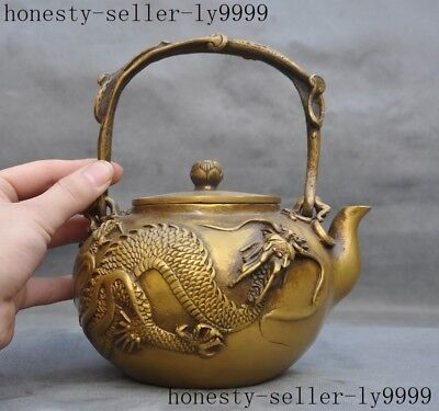 """8""""   Marked old Chinese bronze copper Dragon teapot tea pot maker"""