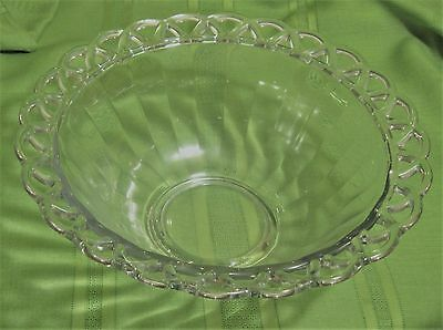 Imperial Glass Ohio CROCHETED CRYSTAL Clear Punch Bowl Lace Edge
