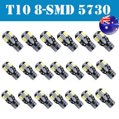 20* CANBUS T10 Wedge 8SMD Parker Number Plate LED Bulbs W5W 194 168 131 WHITE