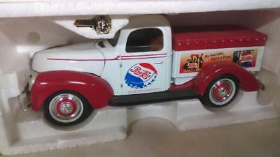 White with Red Pepsi Pick-up Truck Diecast Bank w/Key - Displayed Only