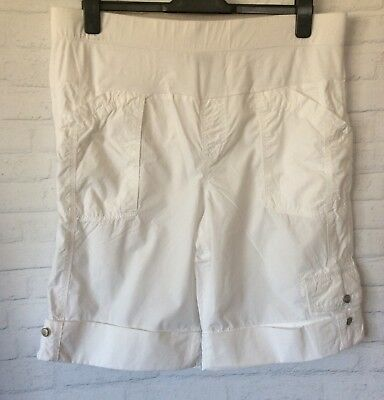 BUB2B Ladies White Cotton MATERNITY Cargo Shorts Pre-Loved Size 14