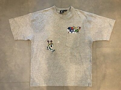 Vintage Warner Bros Looney Tunes Pocket Tee Grey Medium WB Tazz Bugs Bunny