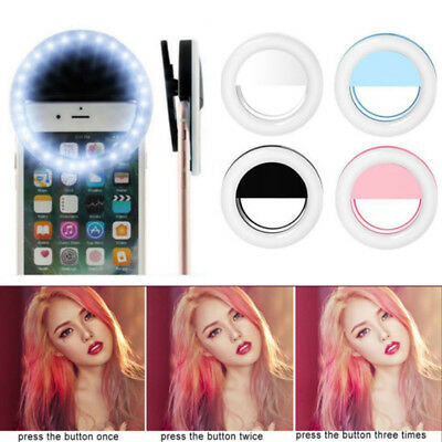 Rechargeable Selfie Portable LED Ring Fill Light Camera For iPhone Sumsung Phone