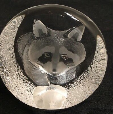 Mats Jonasson Signature Collection Racoon Crystal Sculpture Paperweight Signed