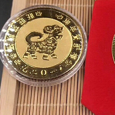 Chinese Zodiac Dog Year gold plated coins New Year lucky Coin  Fengshui 2018