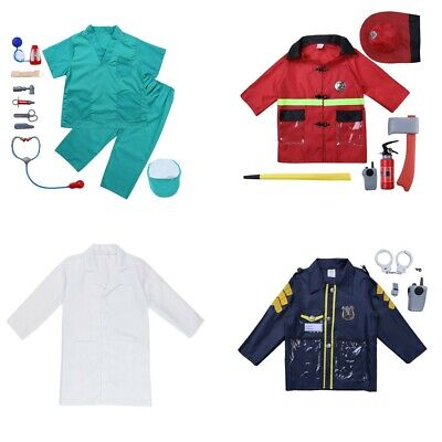 Surgeon/Fireman/Police Costume Outfit Kids Boy Role Play Cosplay Set Fancy Dress