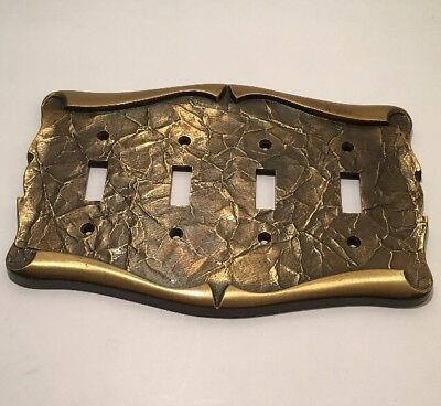 Vintage Brass Amerock Carriage House 4 Gang Toggle Light Switch Cover Plate