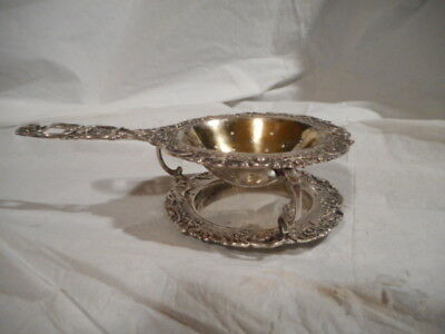 Beautiful German .800 Silver Tea Strainer and Stand. Crown mark look