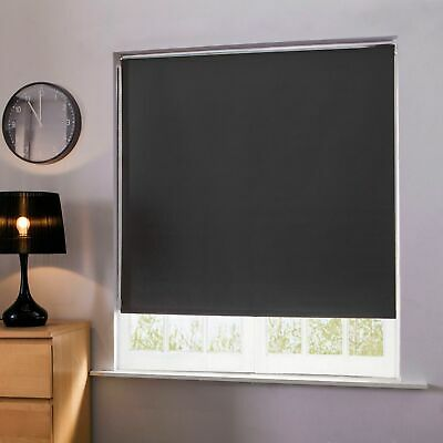 100% Thermal Blackout Roller Blinds Noise & Light Reducing Easy Fit Blind Black