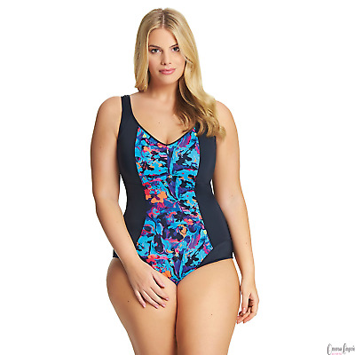 Elomi Cubana ES7090 Black Moulded Wire-Free Swimsuit  NWT Sizes XL-4L