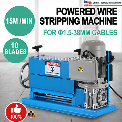 Portable 370W Powered Electric Wire Stripping Machine 10 Blades Metal Cable 110V
