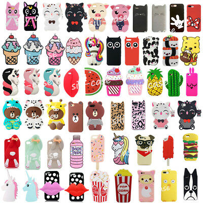 3D Cute Cartoon Kids Soft Silicone Phone Back Case Cover For iPhone 7/8 Plus