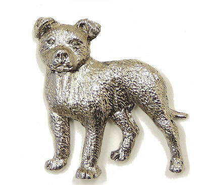 Staffordshire Terrier Brooch, Silver Plated
