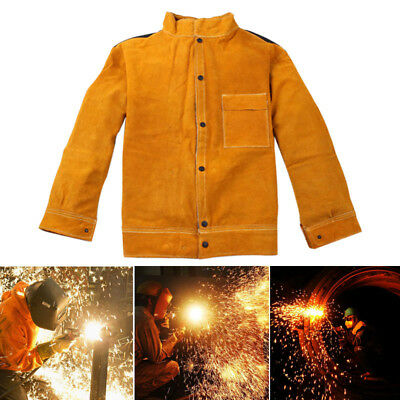 Welder Jacket Cow Leather Apron Protective Coat Welding Welders Safety Apparel