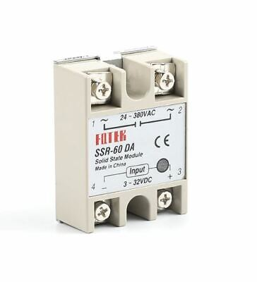Solid State Relay Module SSR-60DA 60A, 3-32V DC to 24-380V AC, With safety Cover