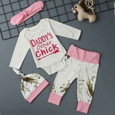 Lovely Cute Kids Baby Girl Clothes Romper Jumpsuit+Pants+Hat+Headband Outfit Set