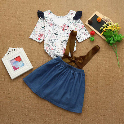 Pretty Newborn Infant Girl Floral Print Rompers Jumpsuit+Strap Skirt Outfits Set