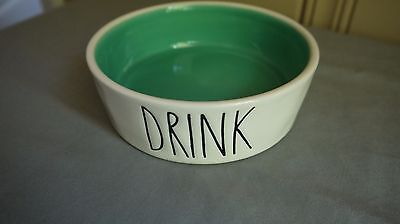 """Rae Dunn Artisan Collection Small Cat Food Water Bowl """"Drink Teal"""""""