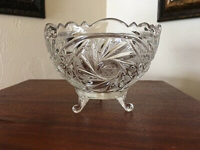 American Brilliant period, Deep cut three footed crystal bowl Star of David