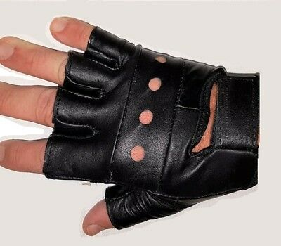 new mens motorcycle choppers fingerless leather gloves S-3XL
